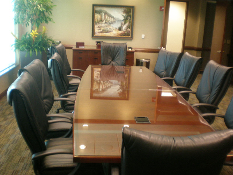 12' Conference Table with Clear Glass Top