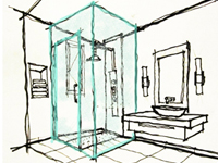 Sketch of a Frameless Glass Shower Enclosure