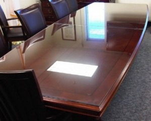 Custom Rectangular Glass Furniture Conference Room Table Top With Bevel