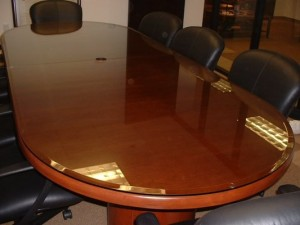Custom Rounded Glass Furniture Conference Room Table Top With Bevel