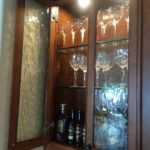 Glass Shelves with Patterned Cabinet Glass Doors