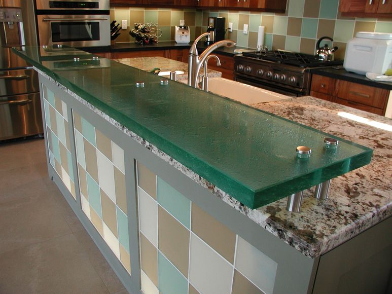 Floating Glass Counter With Dual Stand-offs