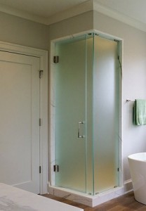Frameless Glass Shower with Acid Etched Glass