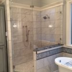 Ultra Clear Glass Swing Door Configuration Shower Enclosure with 120 Degree Off-set Half Panel
