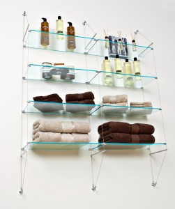 Ultra Clear Glass Tension Shelves for Bathroom