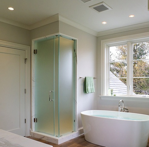 Glass Shower - Acid Etched Glass