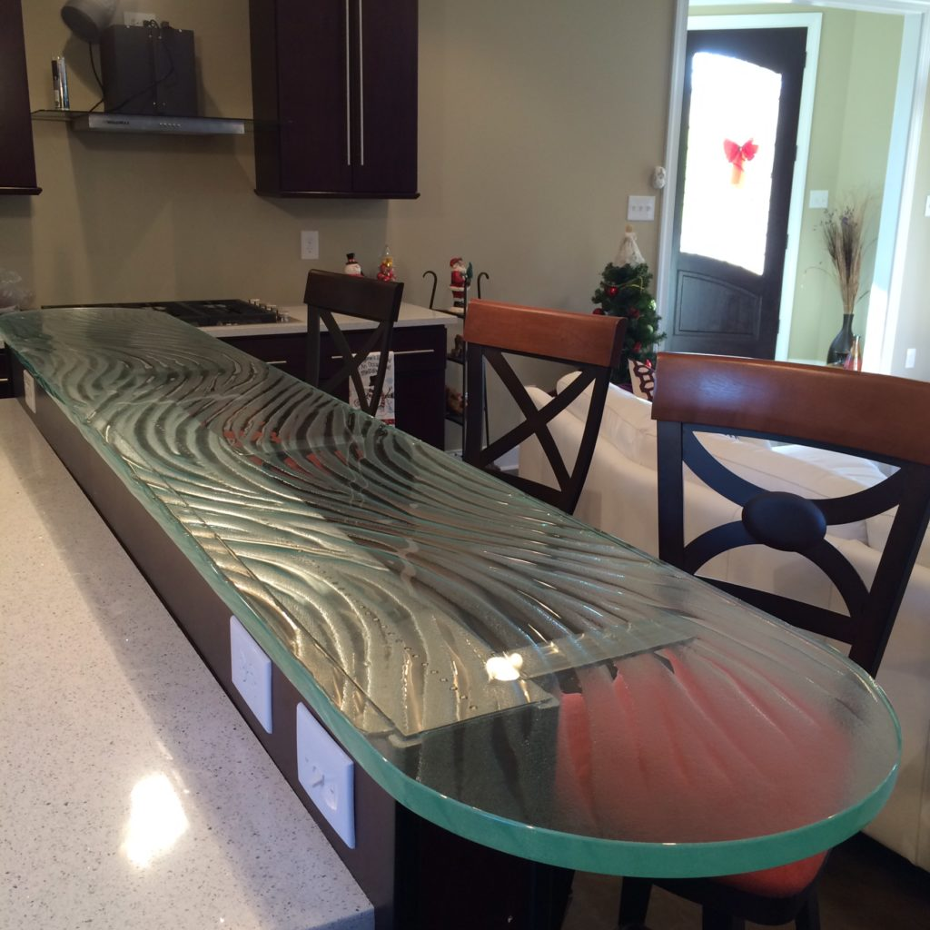 Patterned Low Iron Thick Glass Kitchen Bar Counter Top