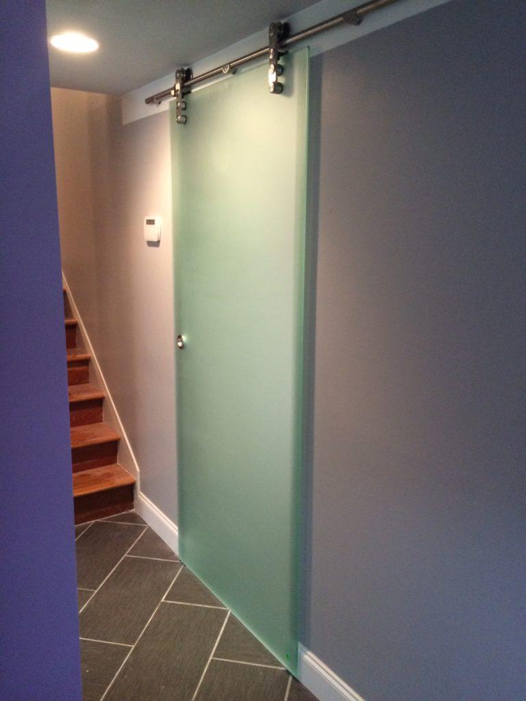Frosted Barn Door Style Sliding Glass Room Divider Door