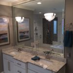 Vanity Glass Mirror With Beveled Mirror Strips