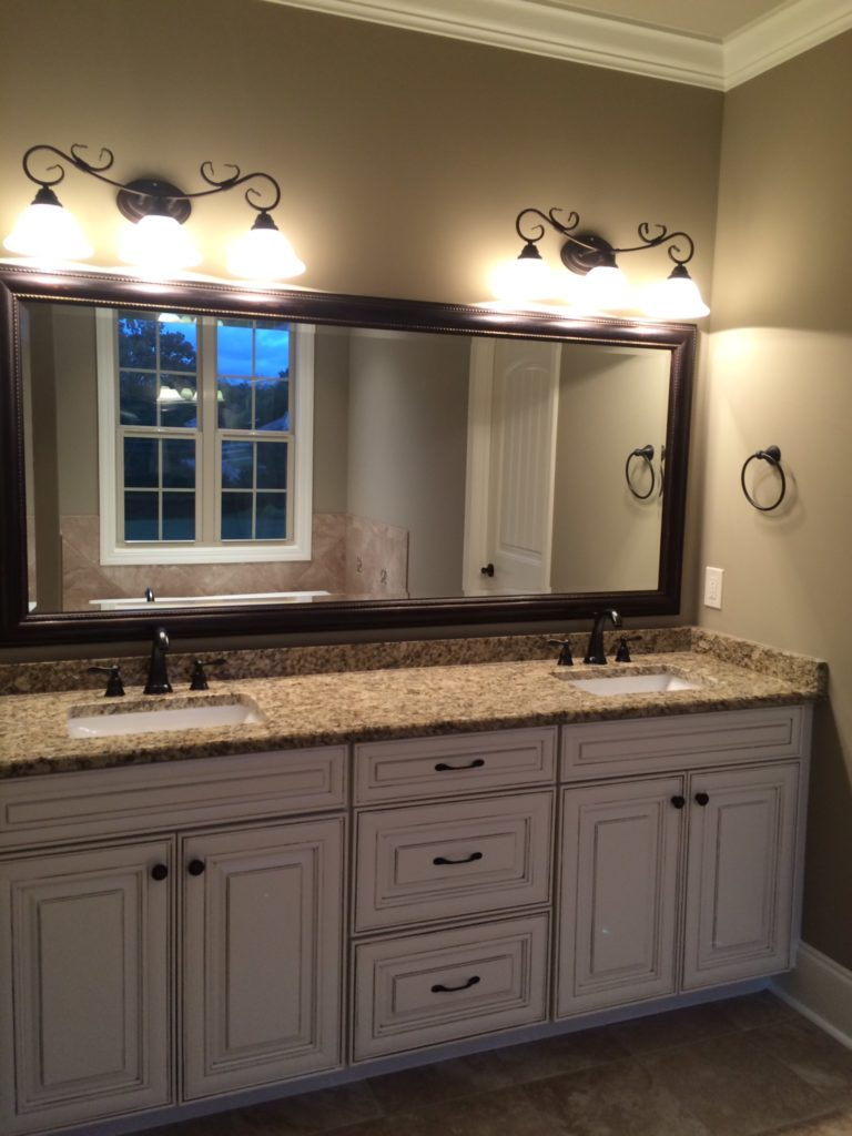 Master Bathroom Hanging Glass Mirror Vanity