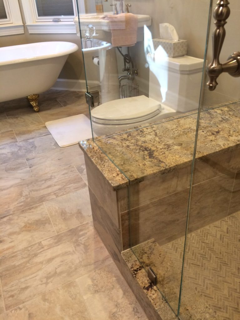 Ultra Clear Glass Frameless Shower Enclosure With 90 Degree Panel and Bench Cutout