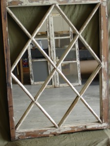 Glass Mirror Cut to Size – Vintage Wood Window Frame