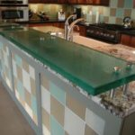 Thick Floating Clear Glass Kitchen Counter Top
