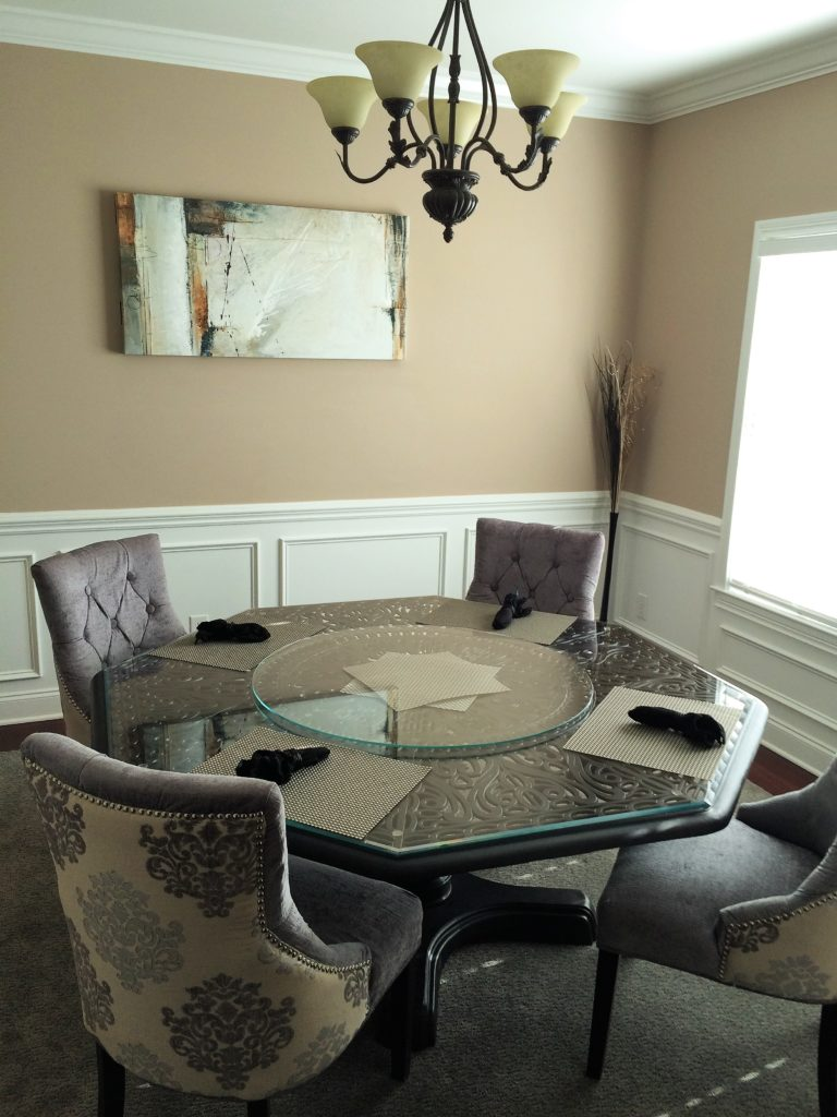 Octagonal Glass Table Top with Solid Glass Circular Lazy Susan
