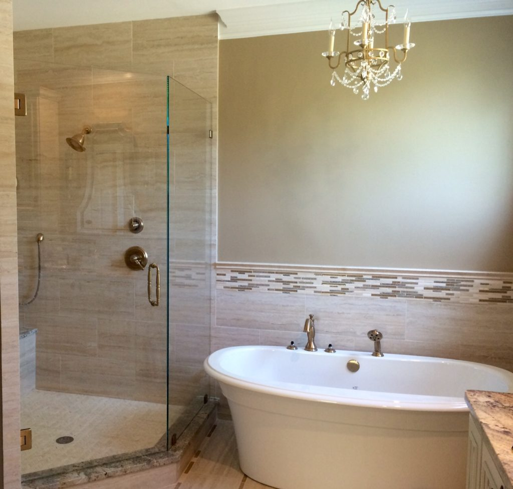 All Glass Swingdoor Shower With 120 Degree Offset Panel
