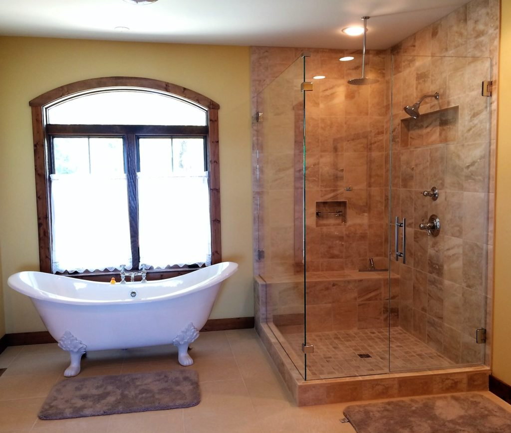 Frameless Glass Shower Enclosure with Large Bench-cut 90 Degree Panel