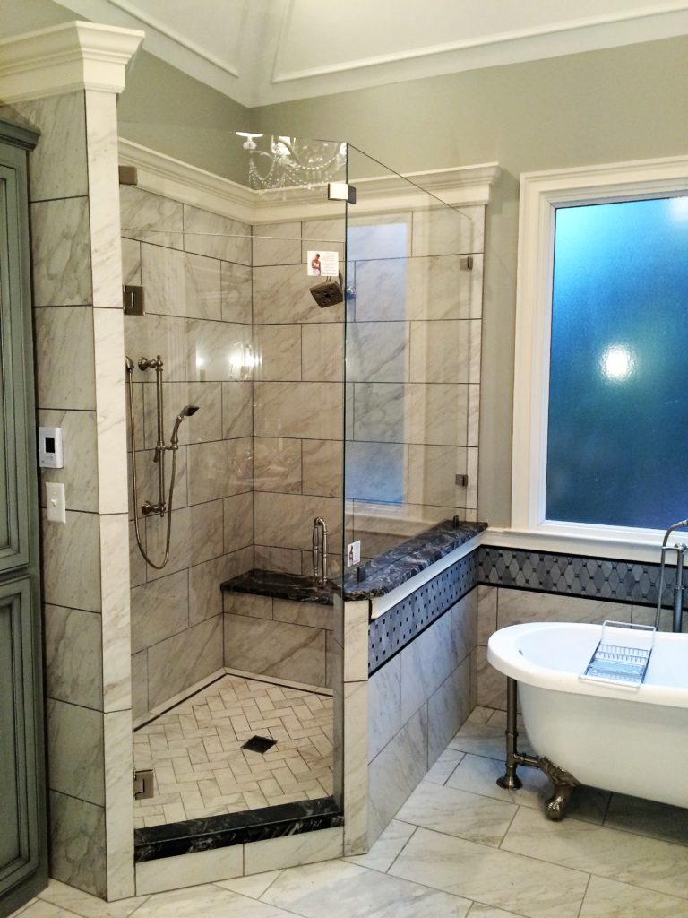 Ultra Clear Low Iron Shower Enclosure with Transom and Half Wall