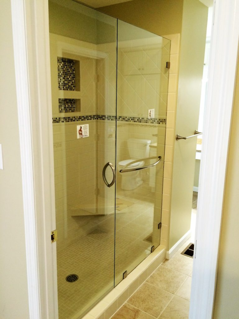 Inline Glass Shower with Brushed Nickel Accoutrements