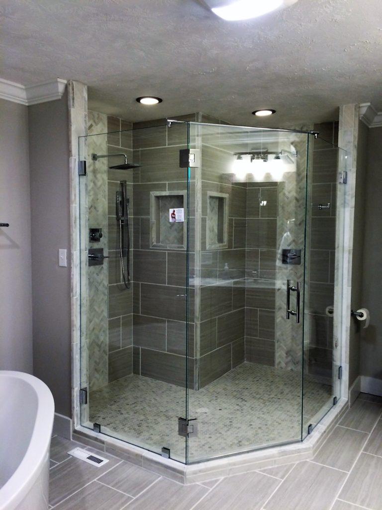 Angled Low Iron Frameless Glass Shower Encloure