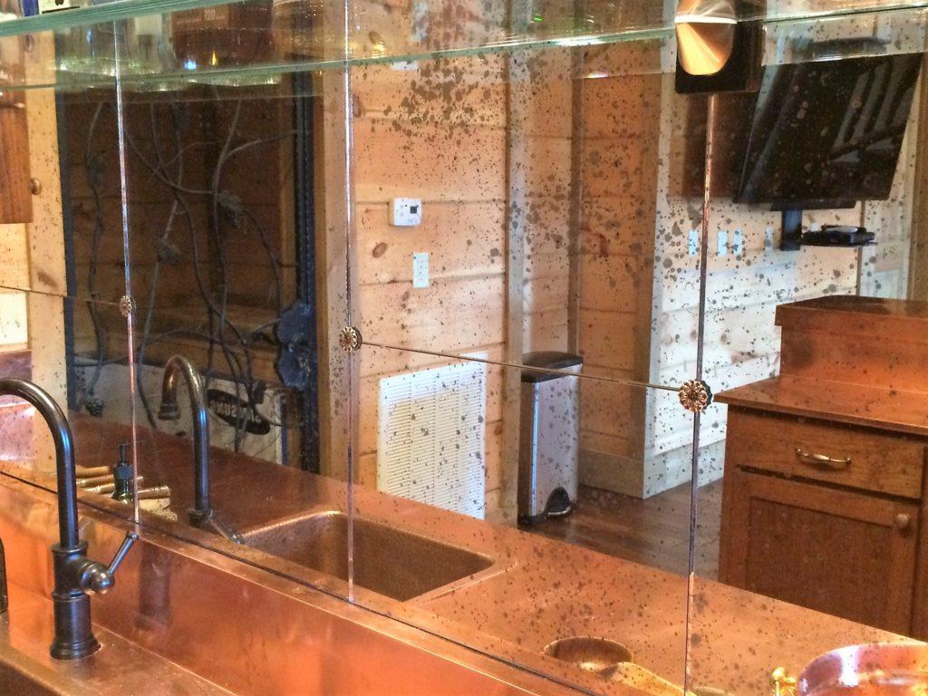 Antique Glass Mirror Backsplash for Kitchen