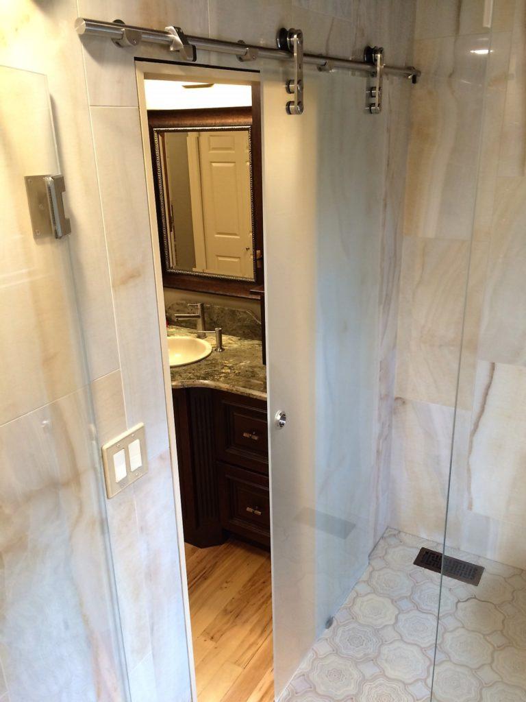 Frosted Sliding Glass Bathroom Shower Door
