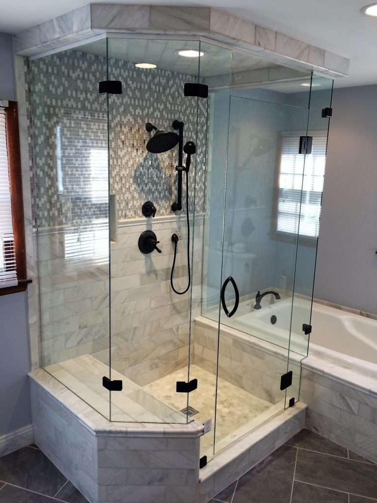 Low Iron Ultra Clear 5 Panel Shower Enclosure with Bench