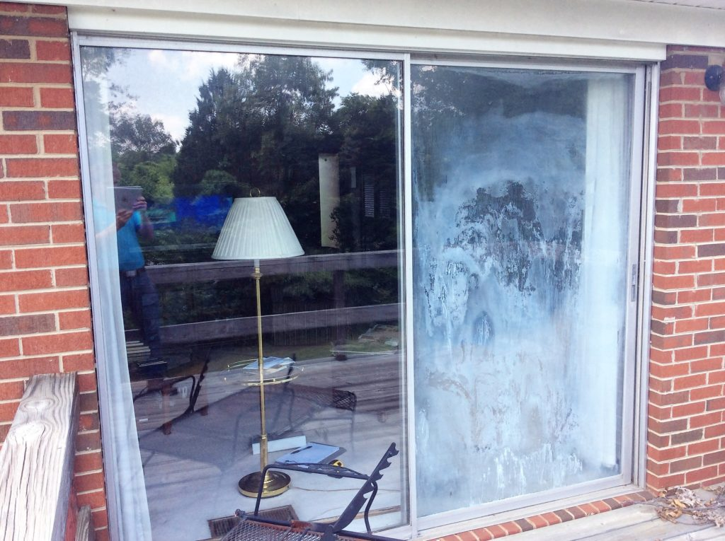 Large Sliding Glass Door Glass Replacement Before