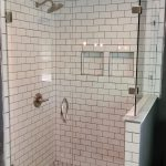 Frameless Glass Shower Enclosure with 90 Degree Off-Set Half Wall Panel