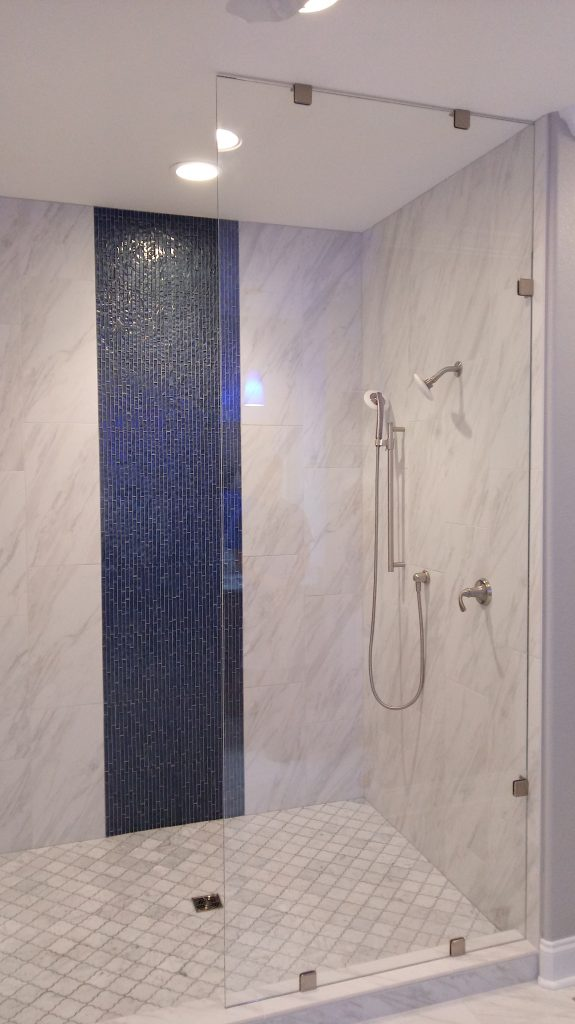 Open Glass Frameless Single Panel Shower with No Door and Showerguard