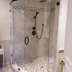 Semi Frameless Glass Shower Enclosure With Header and 90 Degree Glass-to-Glass Panel