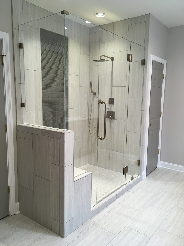 Ultra Clear Frameless Glass Shower Enclosure With 90 Degree Half Wall Panel and Bench