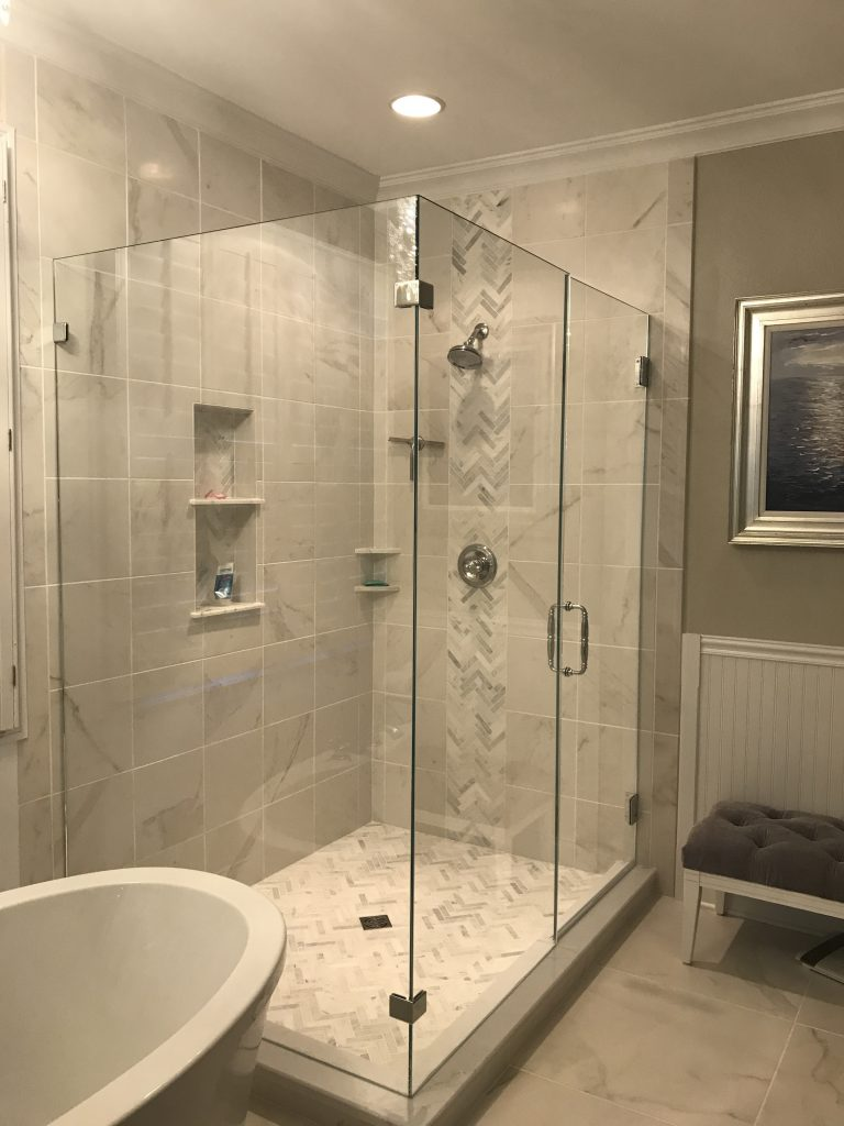 Frameless Glass Shower Enclosure With 90 Degree Panel
