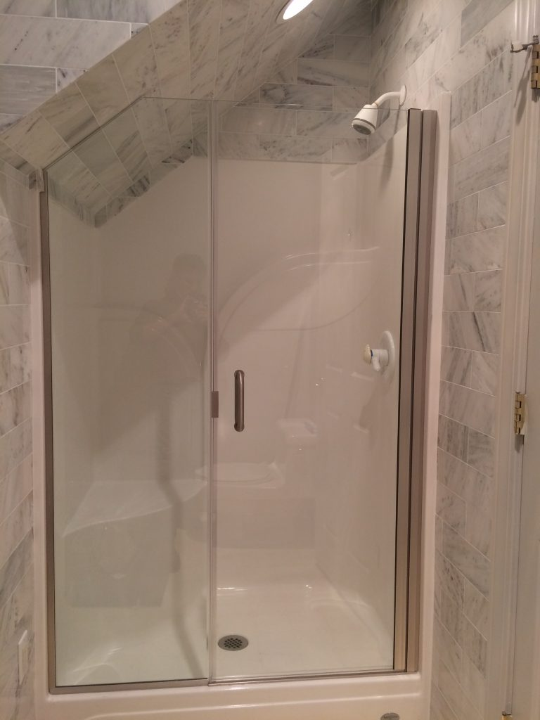 Semi Frameless Glass In-Line Shower Enclosure with 45 Degree Angled Fit Panel