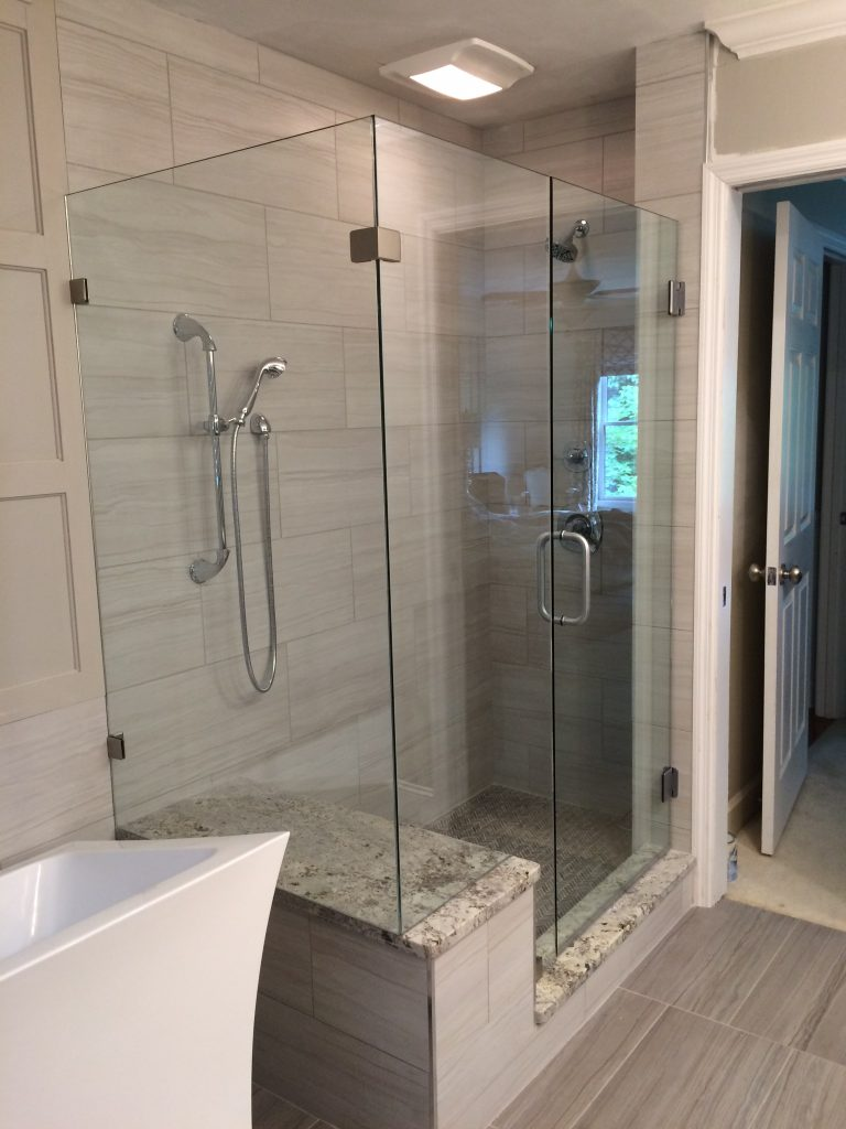 Frameless Ultra Clear Glass Shower Enclosure With 90 Degree Panel and Bench Cutout