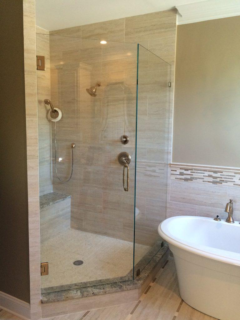 Ultra Clear Frameless 120 Degree Offset Glass Shower Enclosure