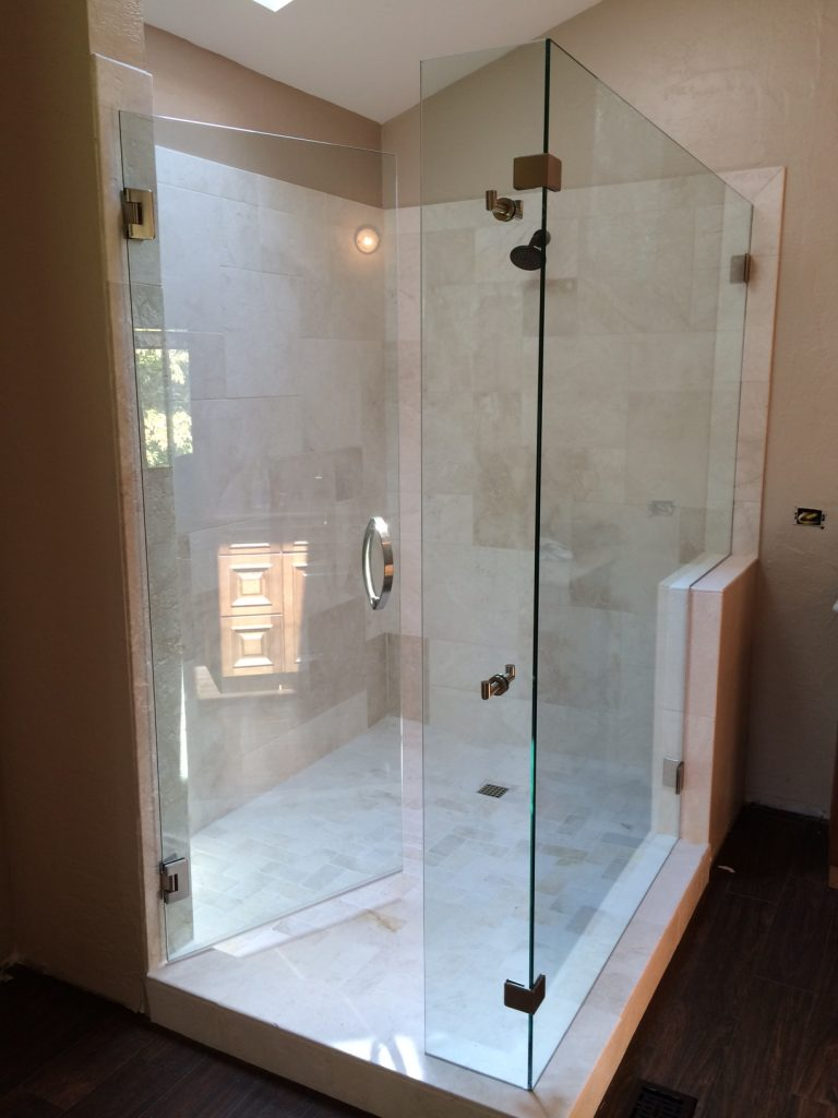 Ultra Clear Frameless Glass Shower With 90 Degree Panel