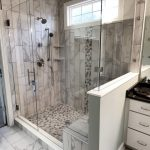 Frameless Ultra-Clear Swing Door Glass Shower Enclosure with Bechcut Inline and 90 Degree Half Wall Panel