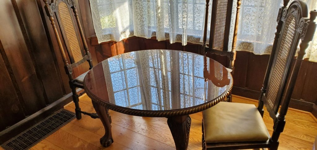 Bronze Glass Elliptical TableTop for Antique Claw Footed Sitting Table