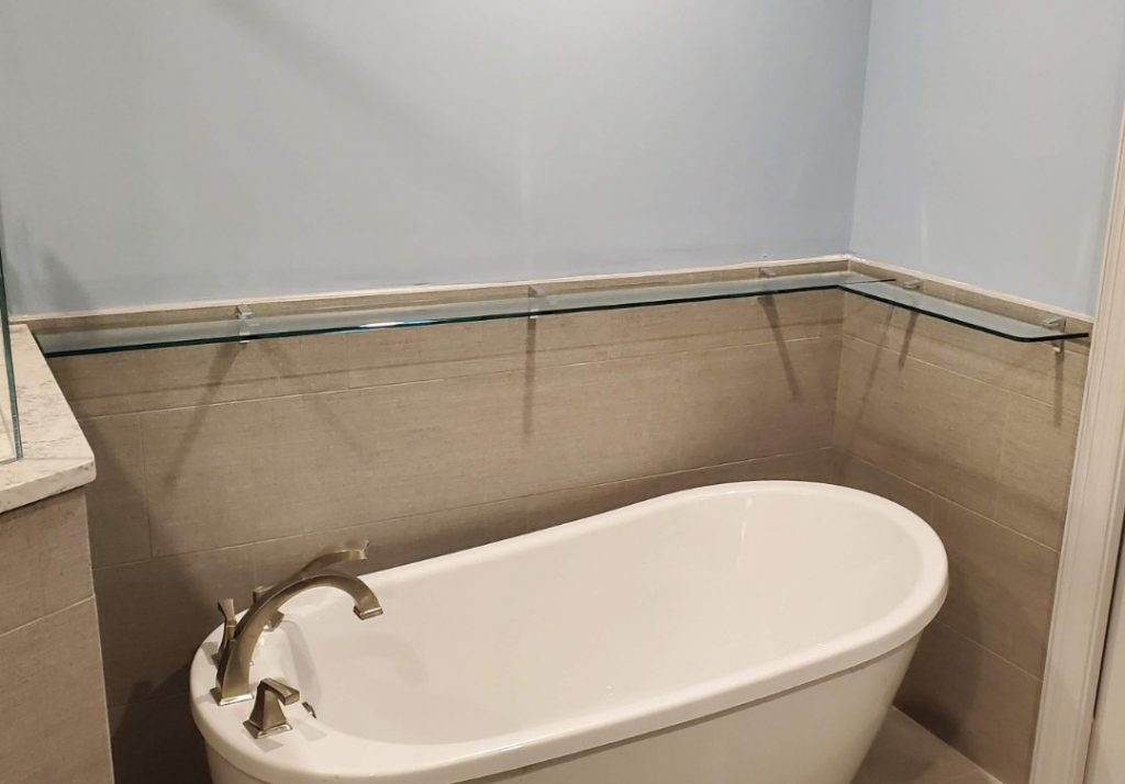 Surround Glass Shelving for Bathroom Tub