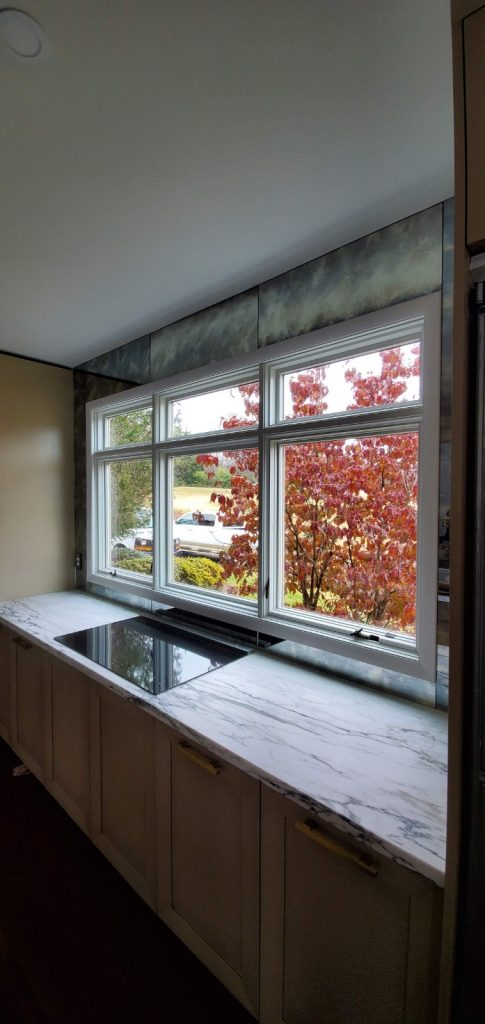Antique Glass Mirror Framed Window for Low Profile Kitchen Renovation