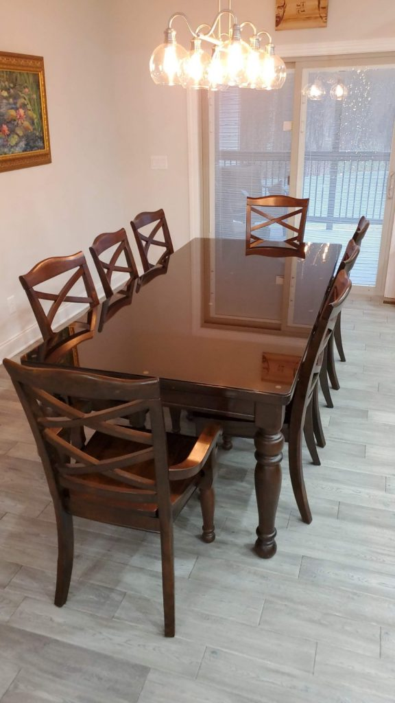 Bronze Colored Glass Top for Dining Room Hardwood Table