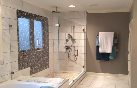 Ultra Clear Frameless Glass Shower With 90 Degree Offset Panel